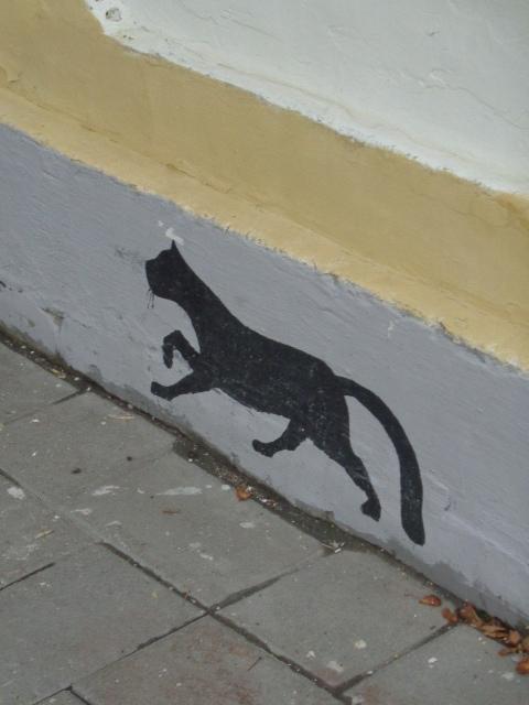 Бежала кошка по стене